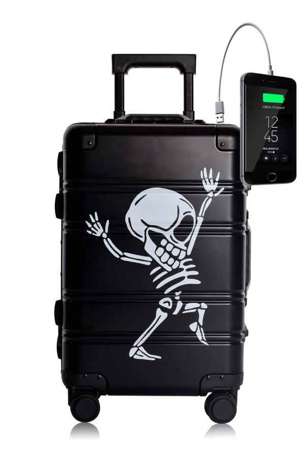 Full Aluminum Suitcase Cabin Size Carry-on Luggage Trolley BLACK SKULL