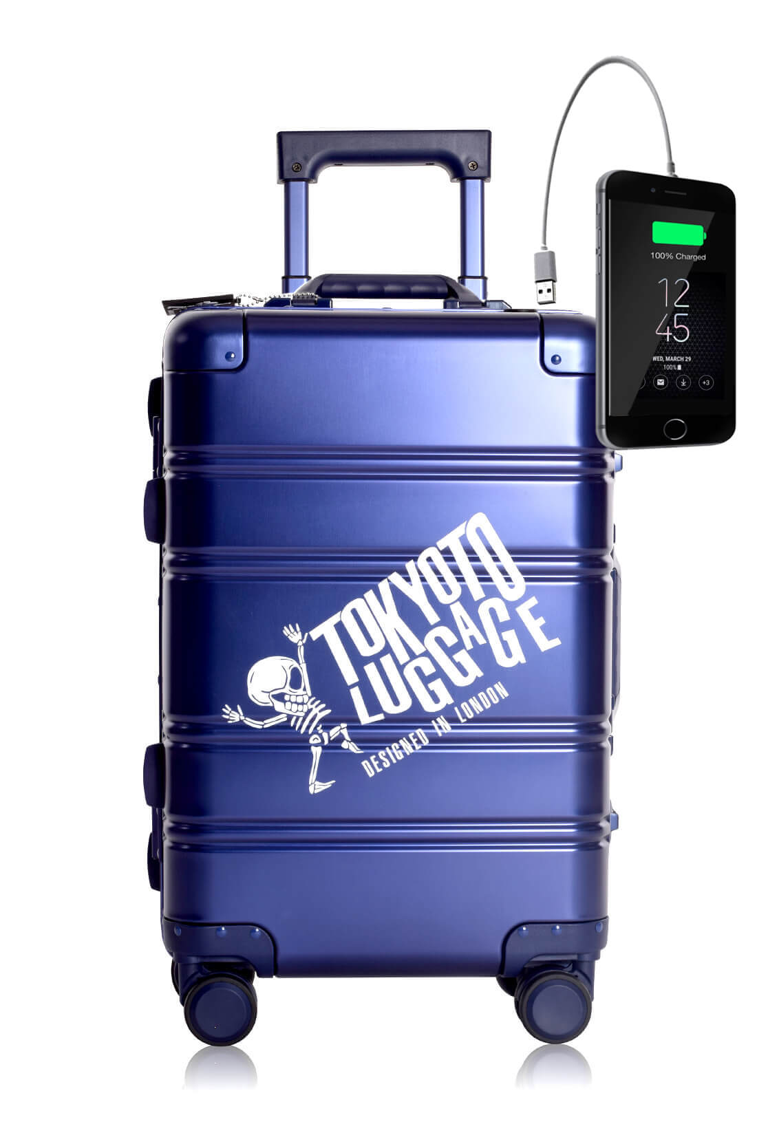 Full Aluminum Suitcase Cabin Size Carry-on Luggage Trolley BLUE LOGO