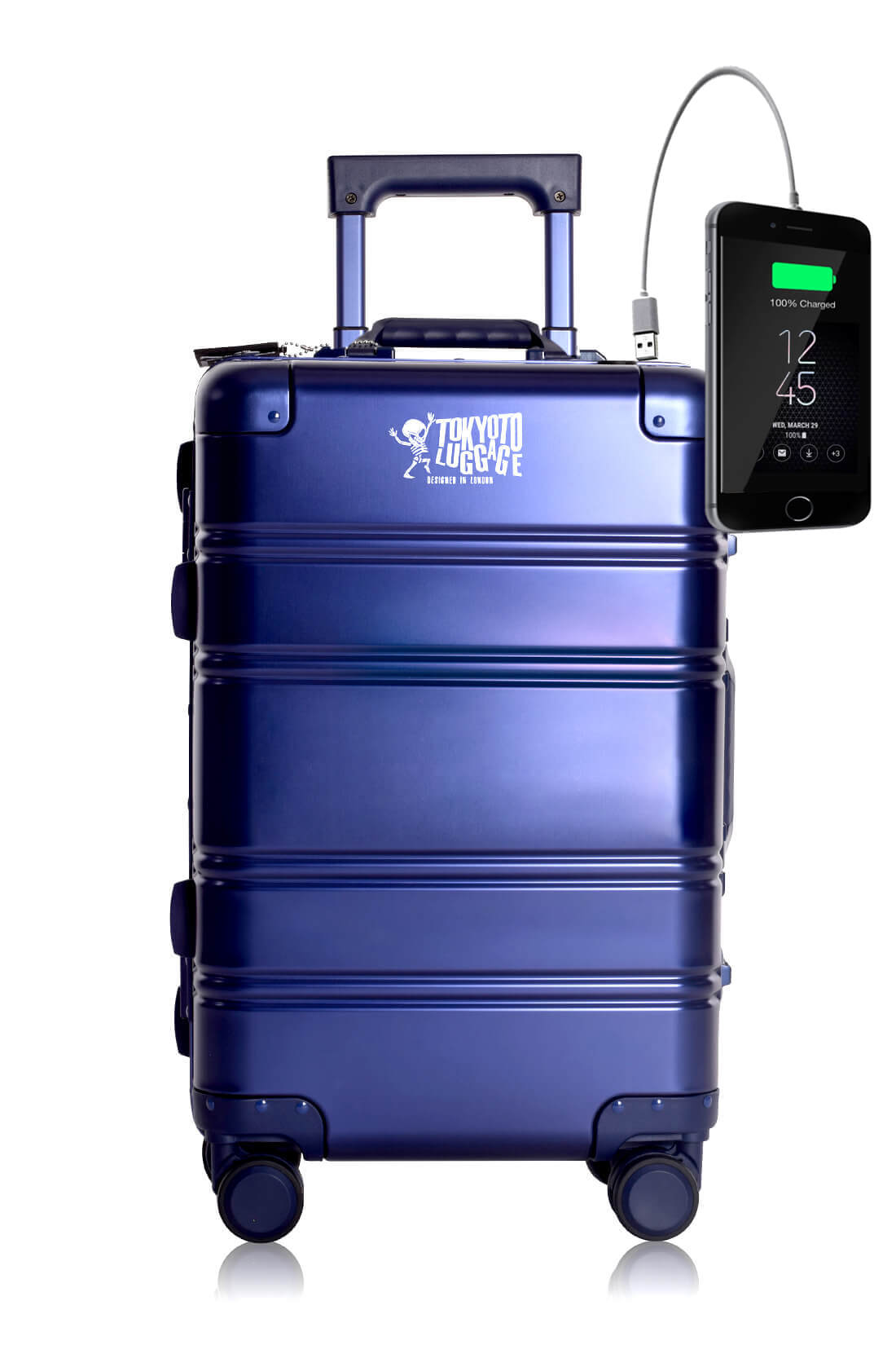 Full Aluminum Suitcase Cabin Size Carry-on Luggage Trolley BLUE SMALL LOGO