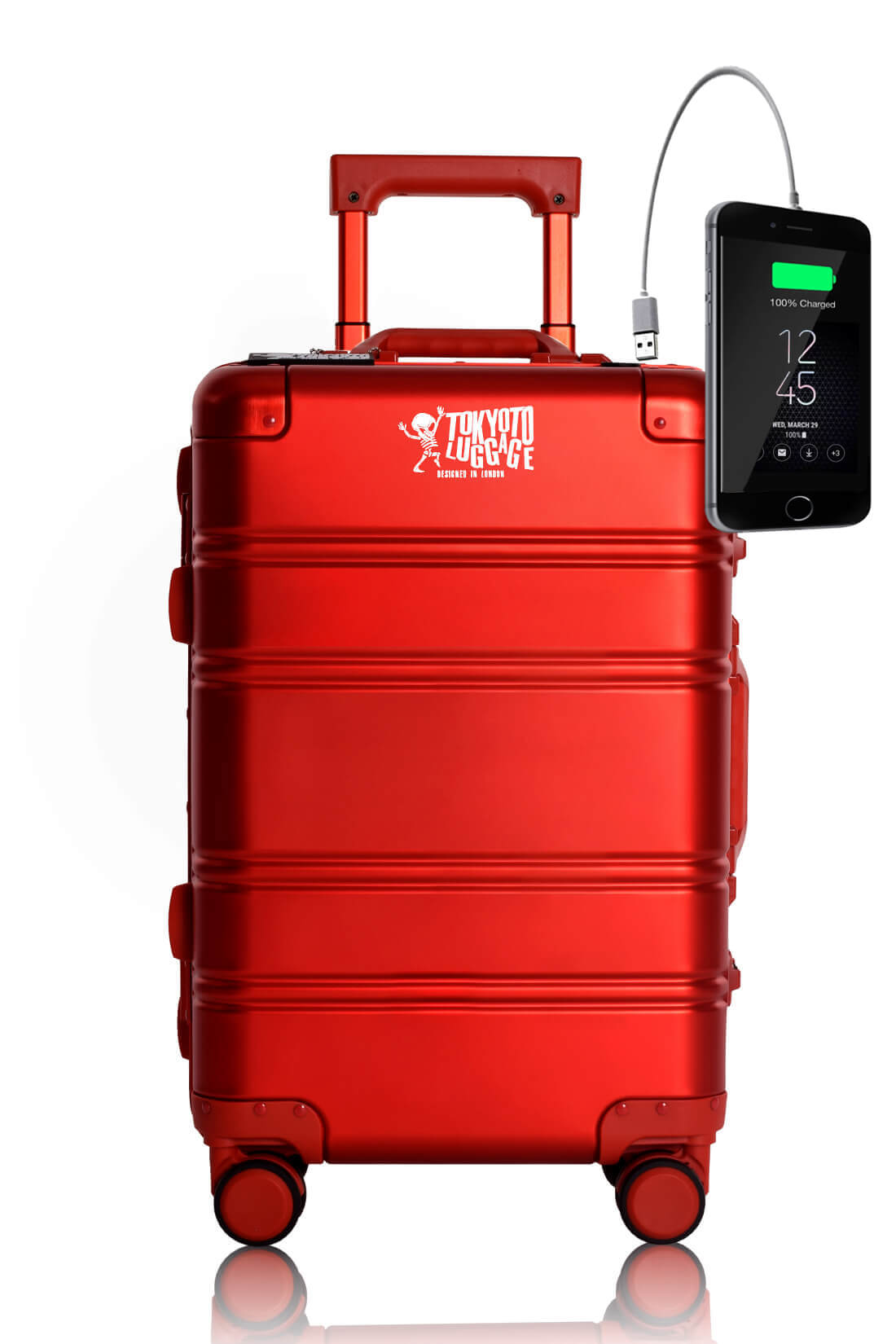 Full Aluminum Suitcase Cabin Size Carry-on Luggage Trolley RED LOGO