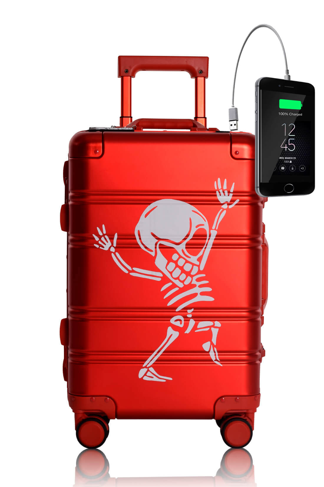 Full Aluminum Suitcase Cabin Size Carry-on Luggage Trolley RED SKULL