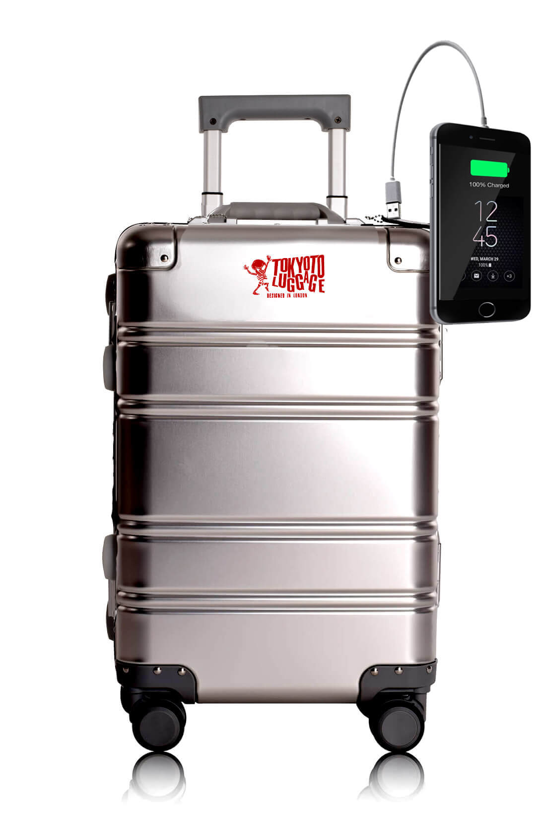 Full Aluminum Suitcase Cabin Size Carry-on Luggage Trolley SILVER LOGO