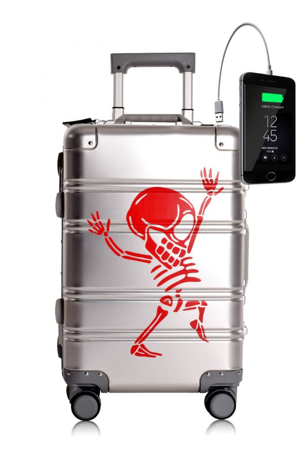 Full Aluminum Suitcase Cabin Size Carry-on Luggage Trolley SILVER SKULL