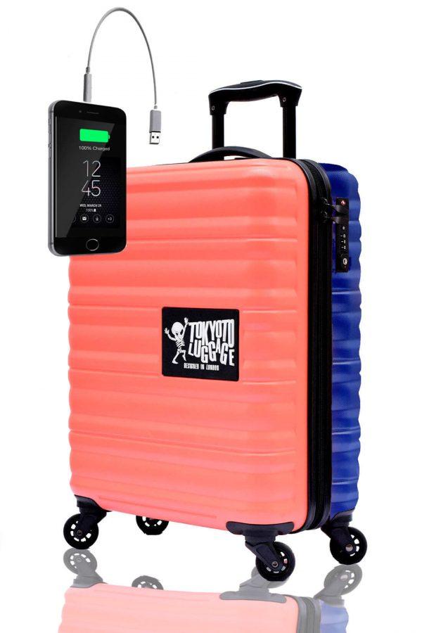 Unicolores Valise Online Cabine Trolley Enfant TOKYOTO LUGGAGE Modelle CORAL BLUE 2