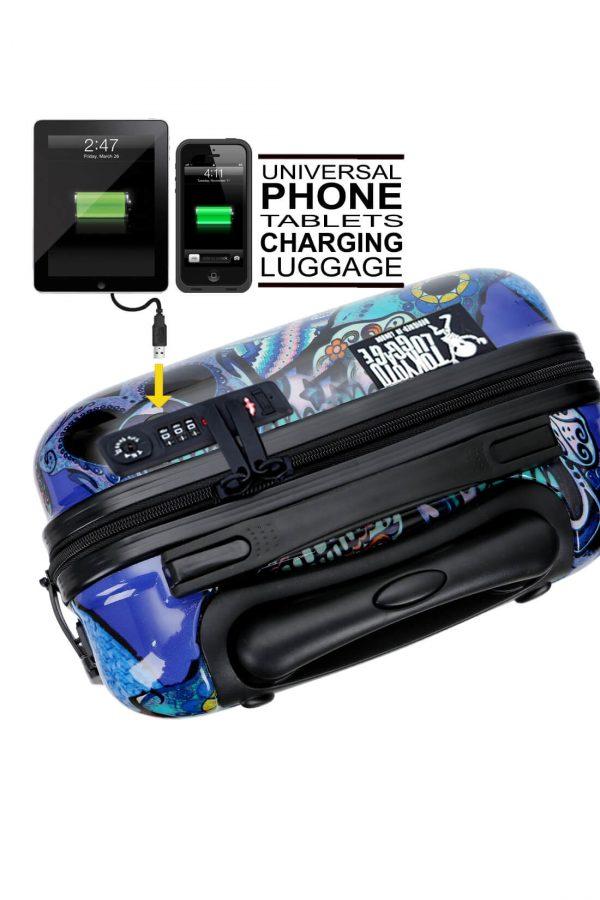Kindertrolley Kindergepäck Reisekoffer Hartschalen-Koffer Trolley Rollkoffer Reisekoffer mit TSA-Schloss und 4 Rollen BLUE SKULLS 4